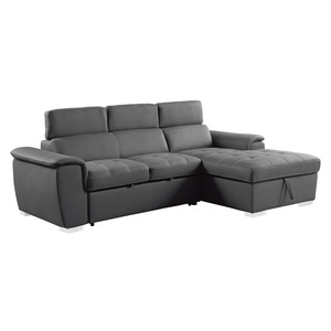 2-Piece Sectional with Pull-out Bed and Hidden Storage/8228GY*
