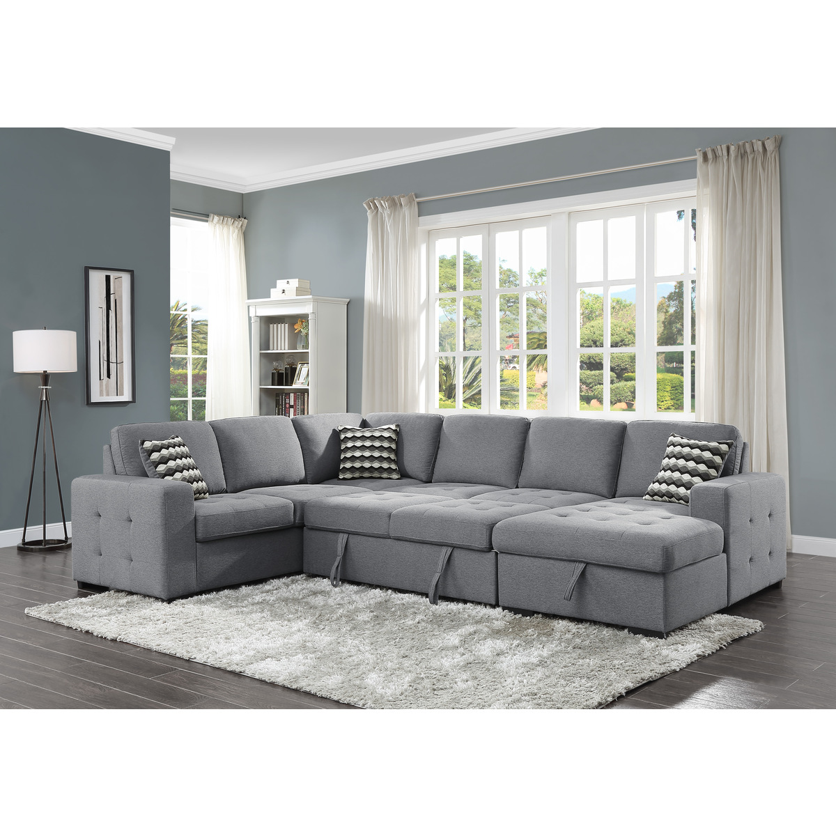 9313GY42LRC 4 Piece Sectional with Pull out Bed and ...