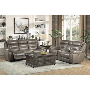 Power Double Reclining Sofa with Power Headrests and USB Ports/9528BRG-3PWH