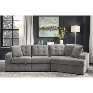 Left Side 2-Seater with Pull-out Ottoman and 1 Pillow/9401GRY-2L