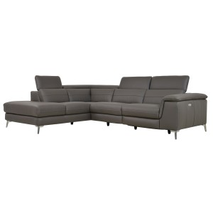 2-Piece Sectional with Left Chaise, Gray-Taupe Genuine Leather/8256M-GRYLSS