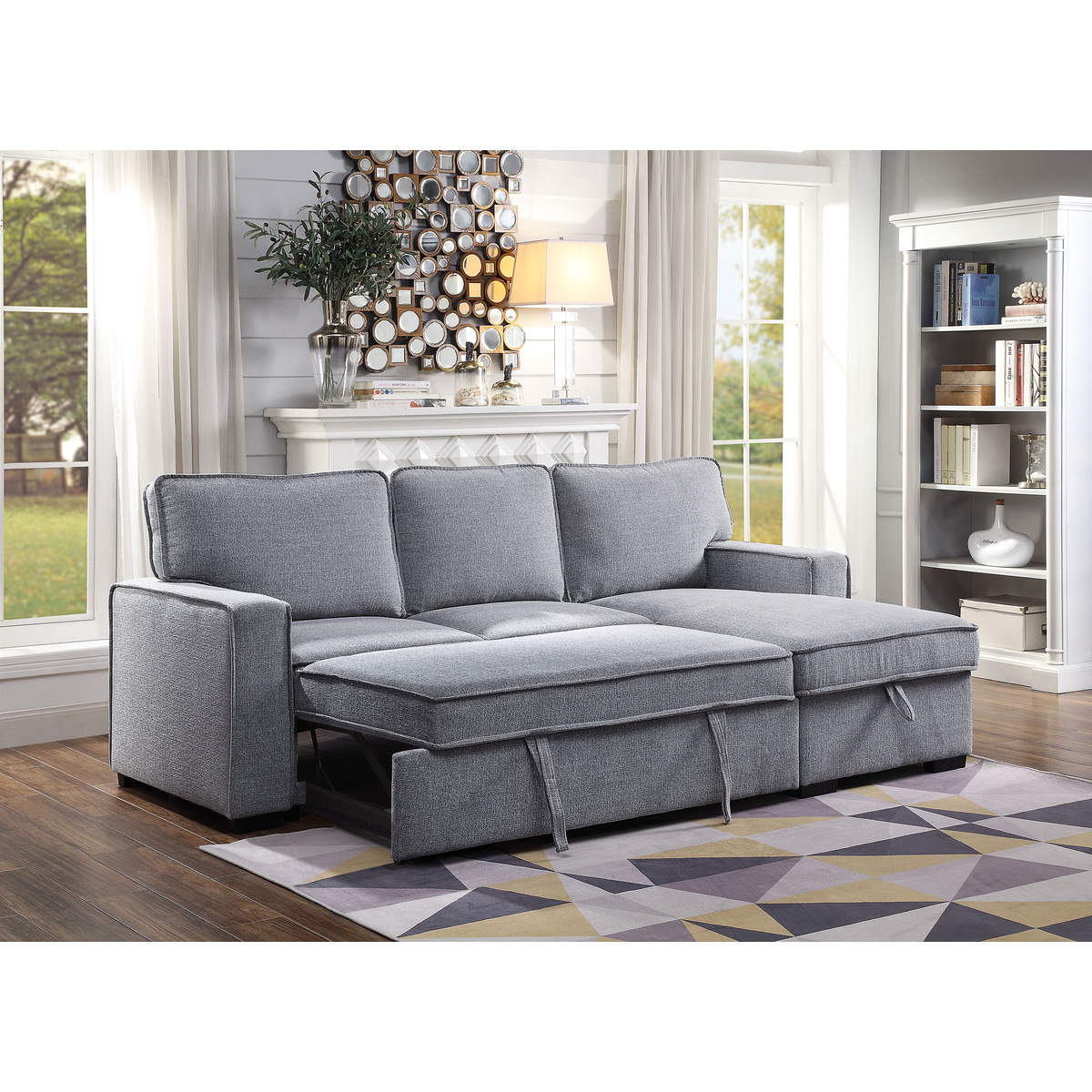 9840GYSS 2pc Sectional with Pull out bed and Hidden Storage